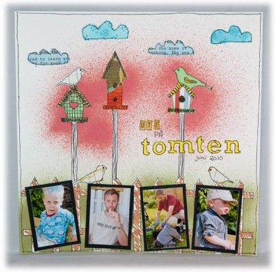 """Ute på tomten""- ""In our garden"""