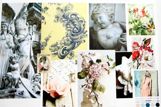 Moodboard mönster franskromantik renässans